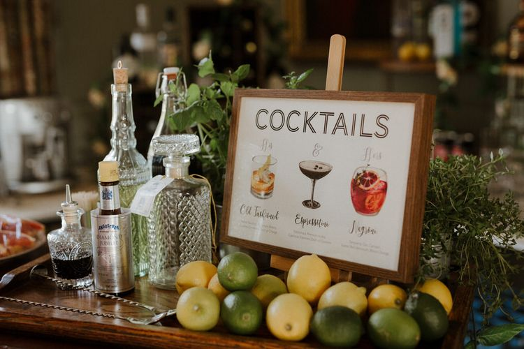 Cocktail Bar At Wedding // Boconnoc Cornwall Weekend Wedding With Bride In Halfpenny London & Groom In Paul Smith With Images From The Curries