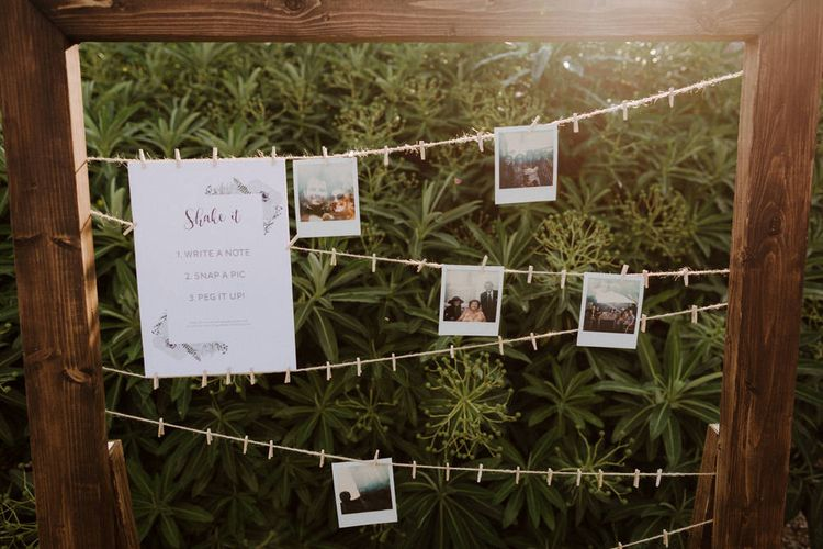 Polaroid Guest Book For Wedding // Boconnoc Cornwall Weekend Wedding With Bride In Halfpenny London & Groom In Paul Smith With Images From The Curries