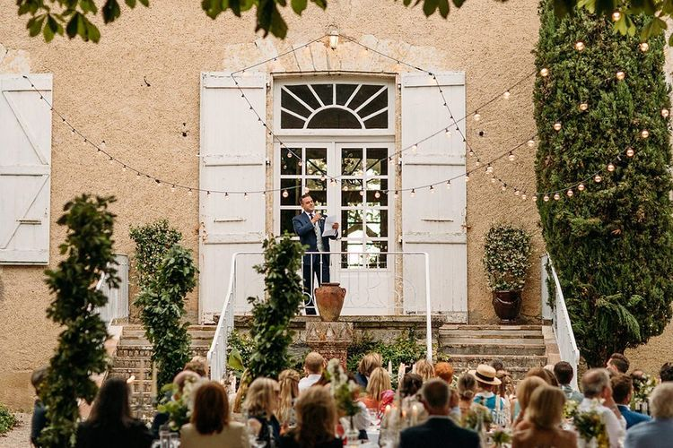 Best Man Delivering his Wedding Speech at the Top of Chateau Lartigolle's Steps