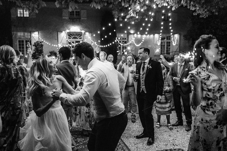 Bride and Groom Dancing at their outdoor reception