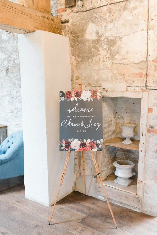 Black, deep red and blush wedding welcome sign