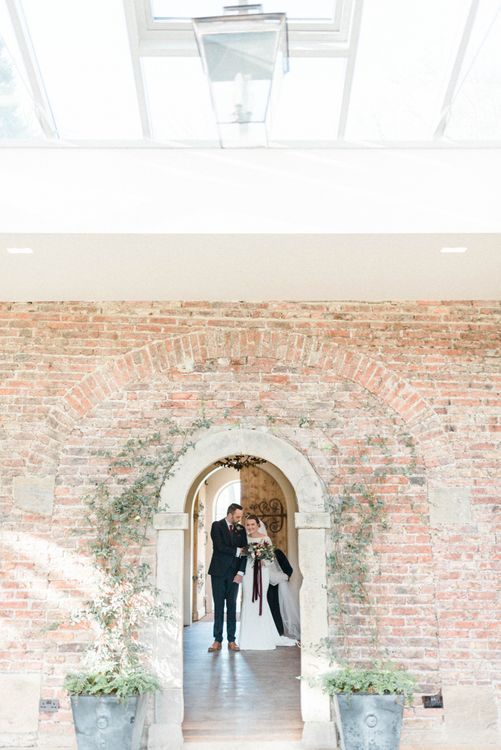 Wedding ceremony bridal entrance in long sleeve wedding dress