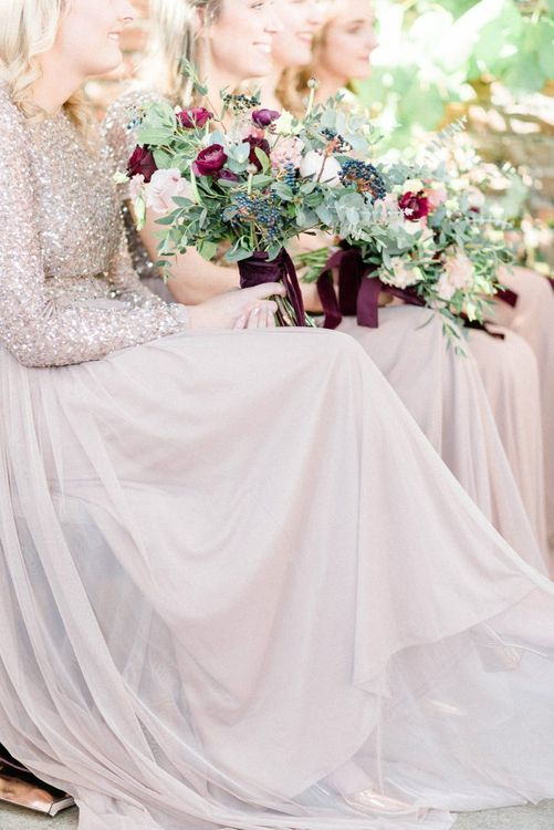 Sequin and tulle bridesmaid dresses from Maya