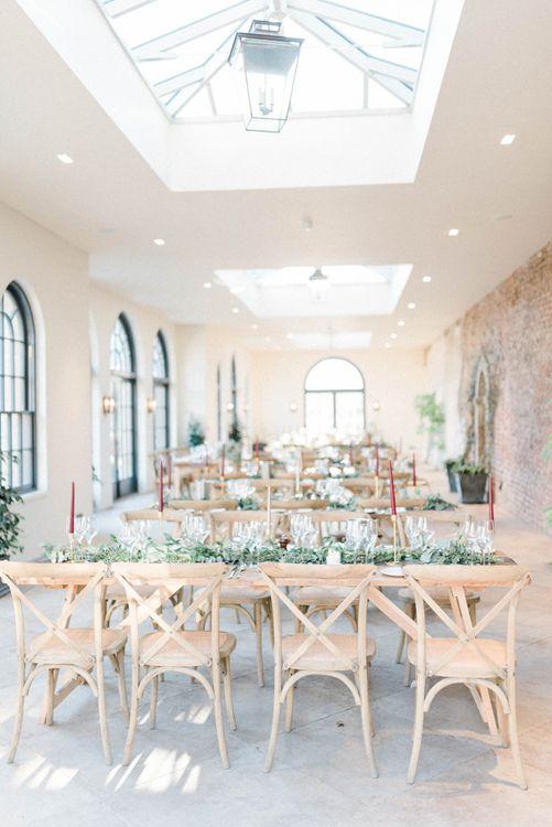 February wedding reception decor at Middleton Lodge