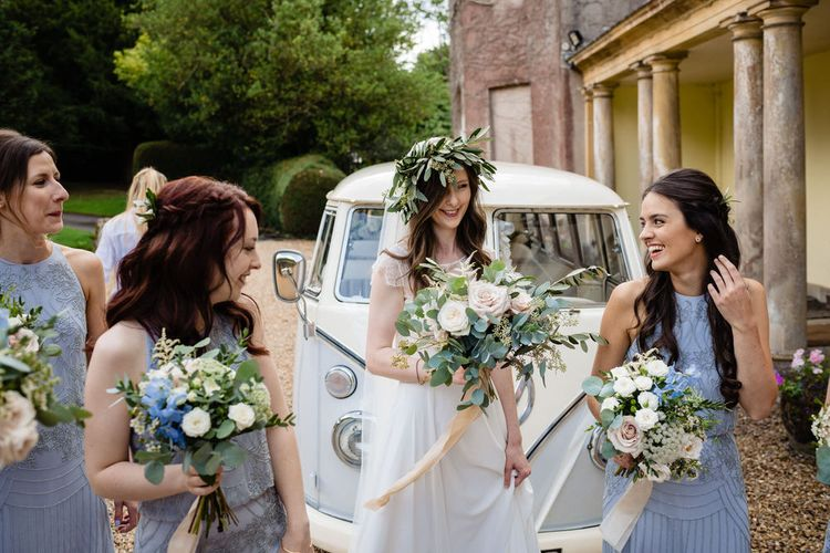 Bridal Party Arriving in VW Camper Van