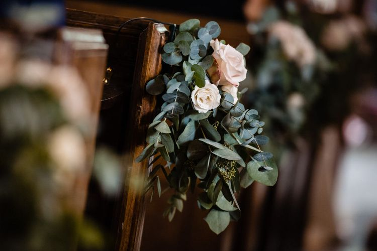 Church Pew Flowers with Pink Rose and Eucalyptus