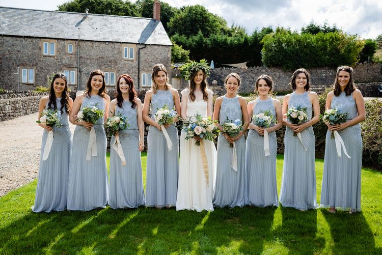 Bridal Party with Bridesmaids in Pale Blue Monsoon Dresses and Bride in Charlie Brear Wedding Dress