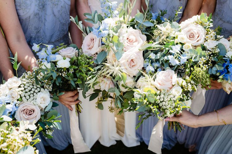 Pastel Pink, Blue and White Flower Bouquets with Foliage