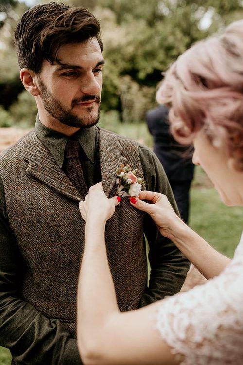 Groom in tweed tuxedo for September wedding
