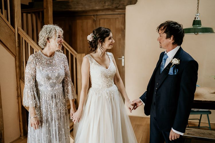 Bride with Mother and Father before September wedding