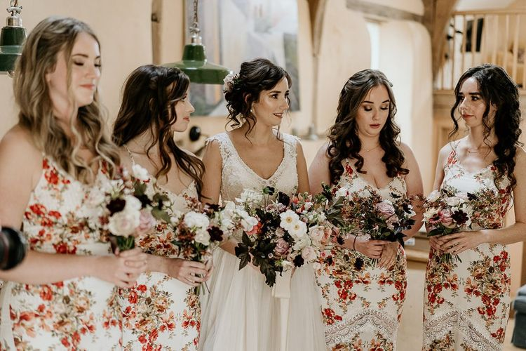 Bridal party in flower dresses