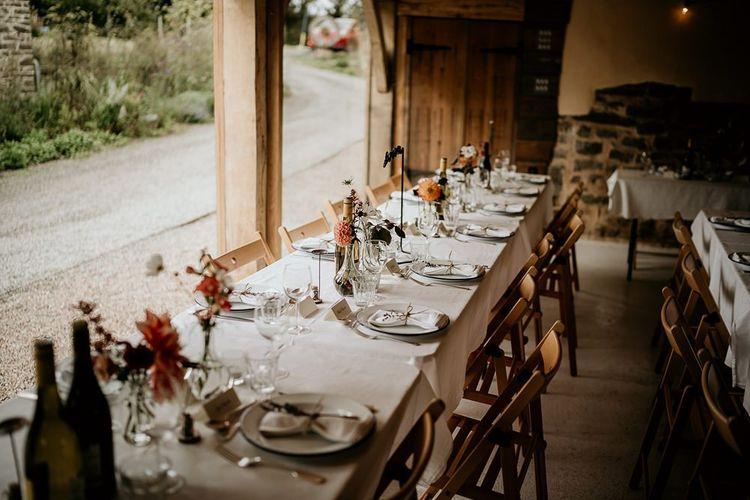 Wedding table set up at  wedding in Devon