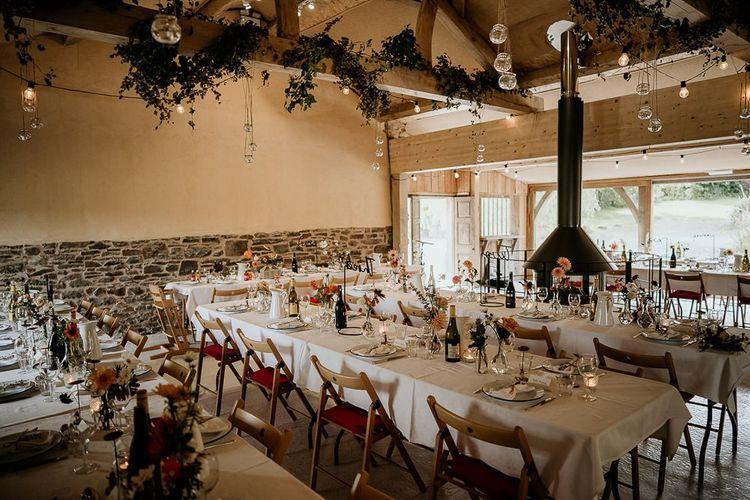 Wedding table set up at September wedding in Devon
