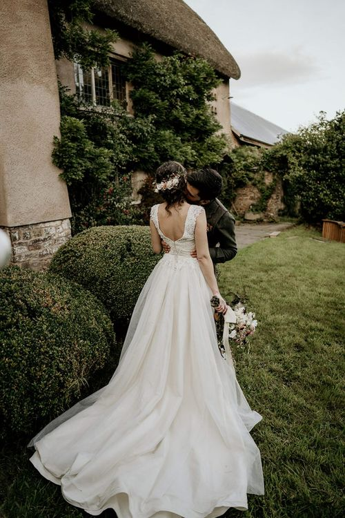 Ivory and Grace wedding dress with bridal updo