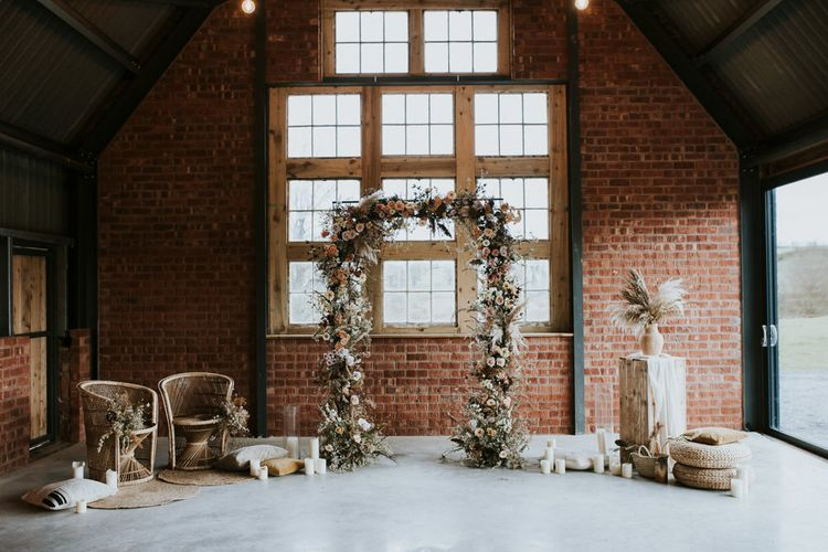 Dried Flowers Floral Arch & Peacock Chairs Wedding Decor