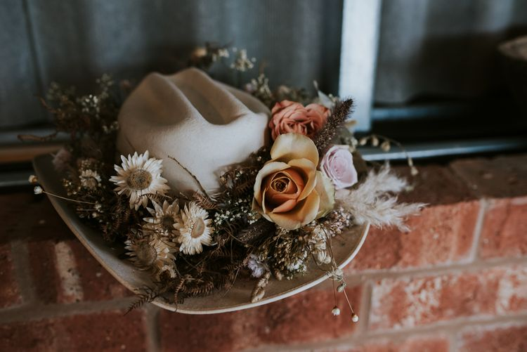 Cowboy Hat with Dried Flowers