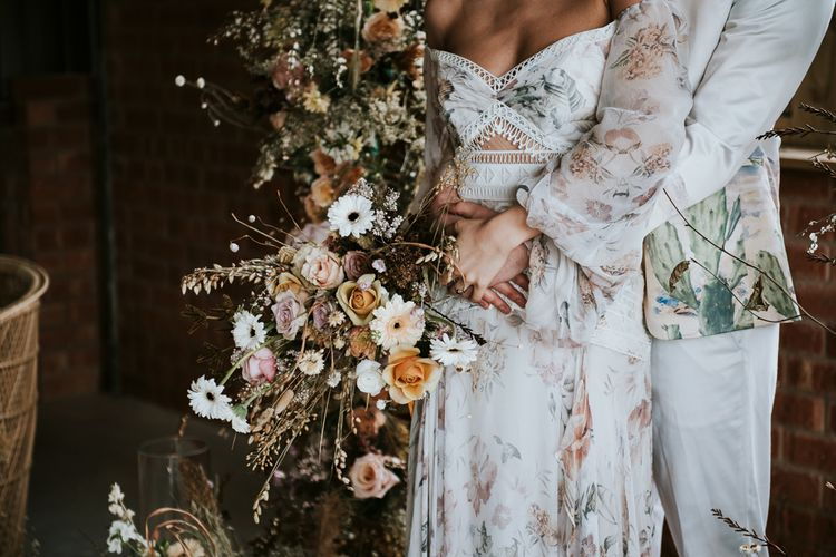Floral Wedding Dress and Oversized Dried Flowers Wedding Bouquet