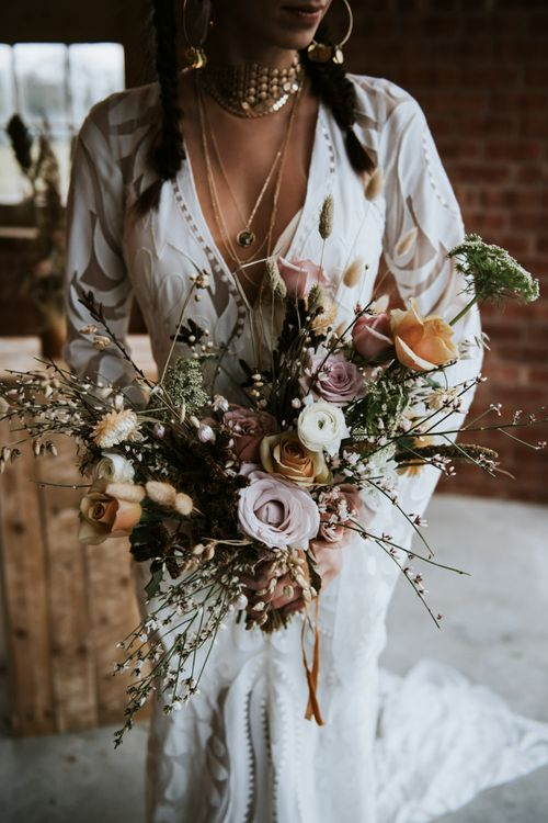 Wedding Bouquet with Roses, Foliage and Dried Flowers
