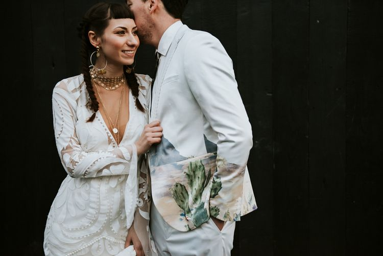 Stylish Bride and Groom in Lace Wedding Dress & Patterned Suit