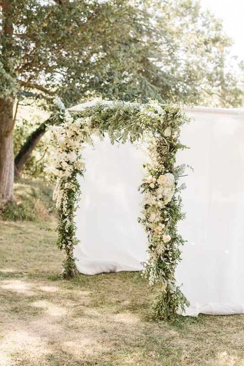 White and Green Flower Arch