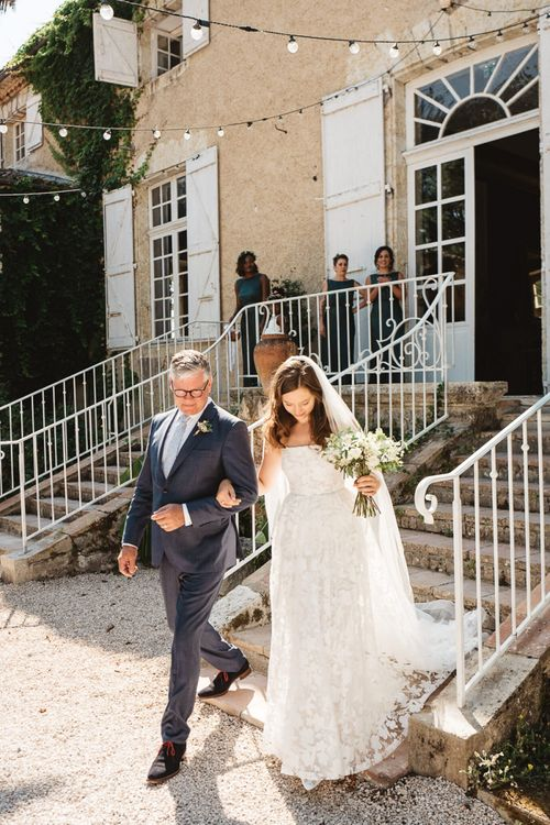 Bridal Entrance in Jesus Peiro Wedding Dress with Father of The Bride