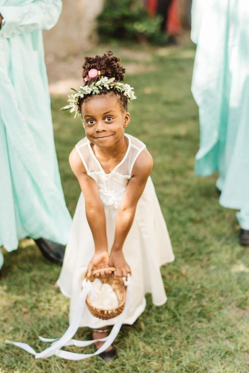 Flower Girl in White Dress and Flower Crown