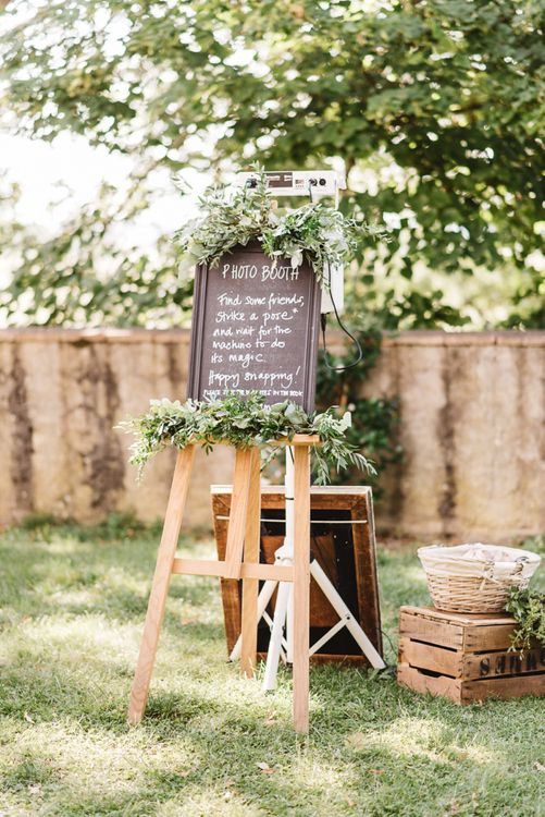 Chalkboard Photo Booth Sign on Wooden Easel