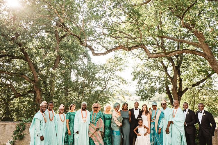 Bride and Groom Portrait with Ghana and Nigerian Family