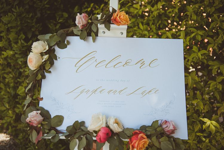 Welcome sign at Lake Como wedding