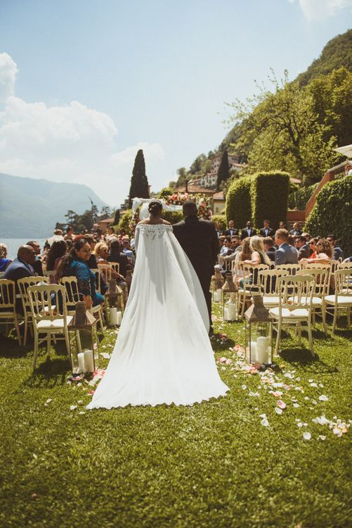 Lake como wedding ceremony with bride in cape