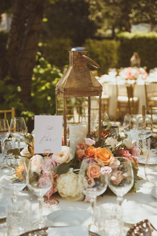 Lanterns and flower centrepieces