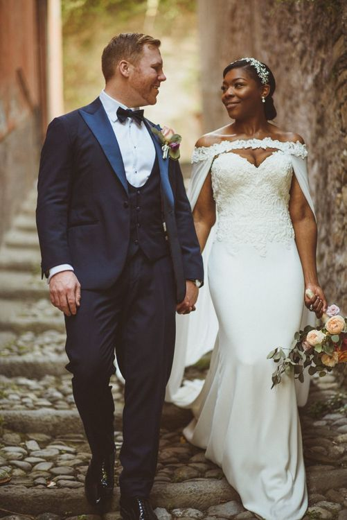Bride and Groom portrait at Lake Como Wedding