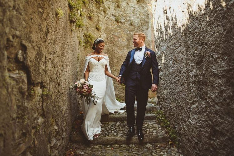 Lake Como wedding with bride and groom in black-tie attire