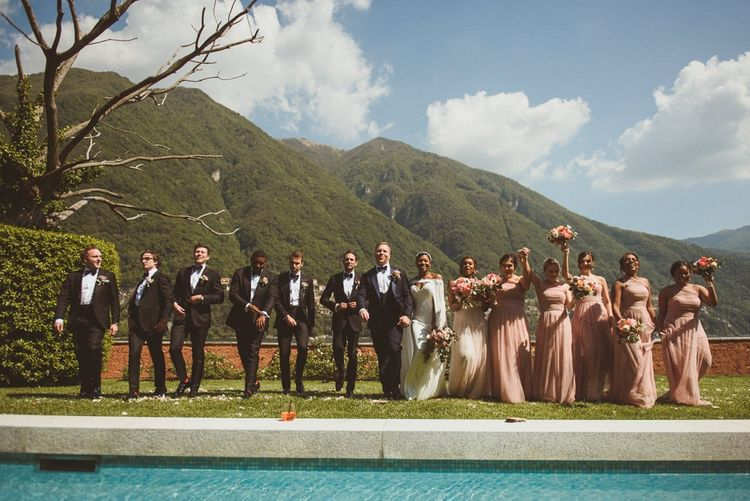 Wedding party portrait at Lake Como wedding