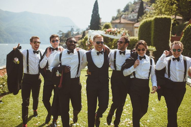 Groomsmen in braces and bow ties