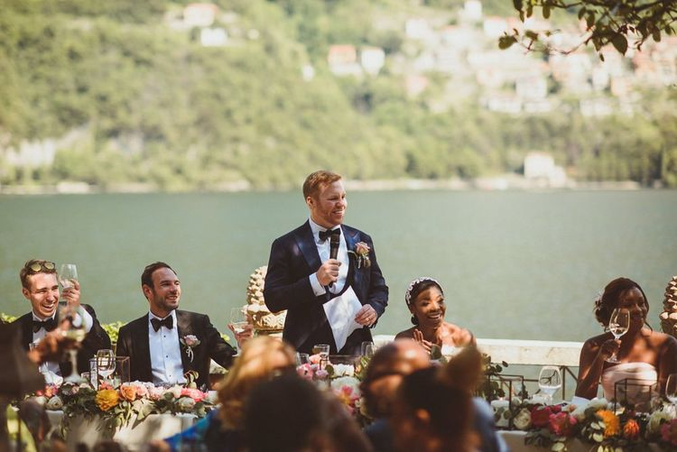 Grooms wedding speech at Lake Como wedding