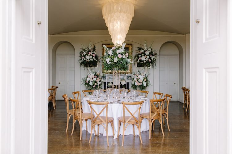 Round tables at Aynhoe Park wedding reception