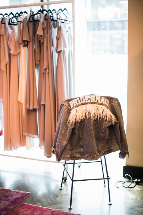 Customised Demin Jacket with Feathers at Maid with Style London Bottomless Brunch