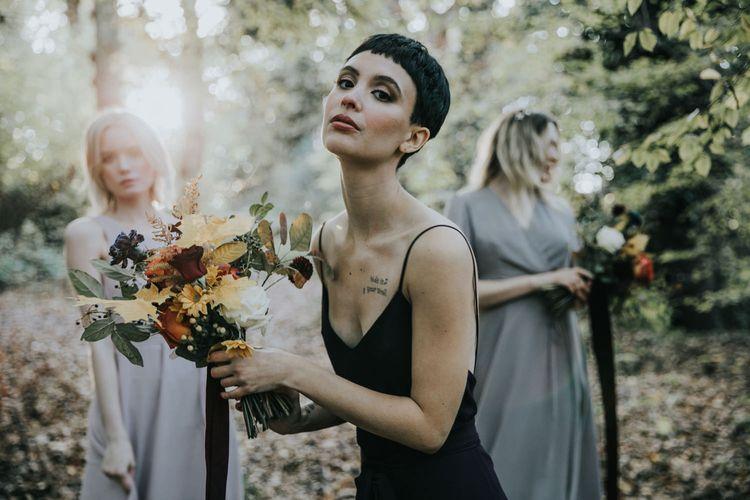 ReWritten Black and Grey  Bridesmaid Dresses