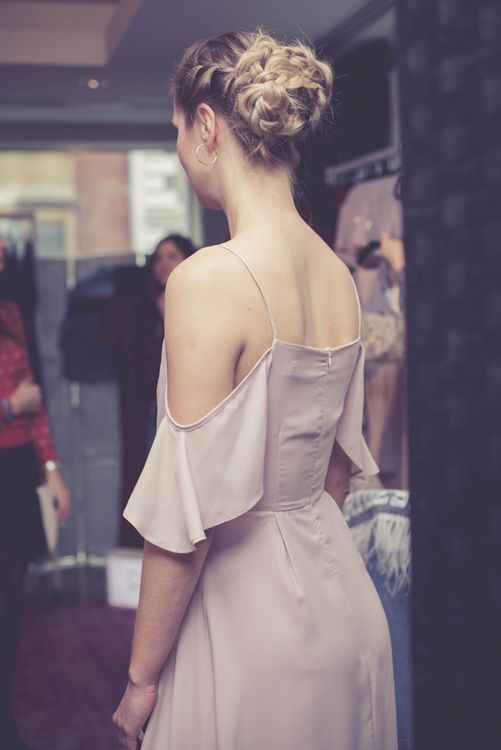 Model Wearing Stylish ReWritten Bridesmaid Dress at Maid with Style London Bottomless Brunch