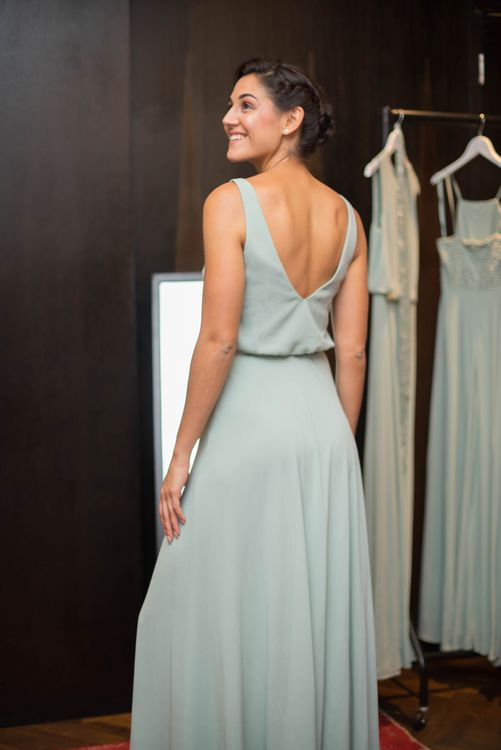 Model Wearing Stylish Bridesmaid Dress at Maid with Style London Bottomless Brunch