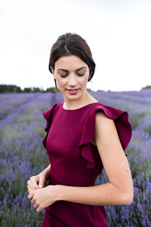 Burgundy TH&TH Bridesmaid Dress with Frill Sleeves