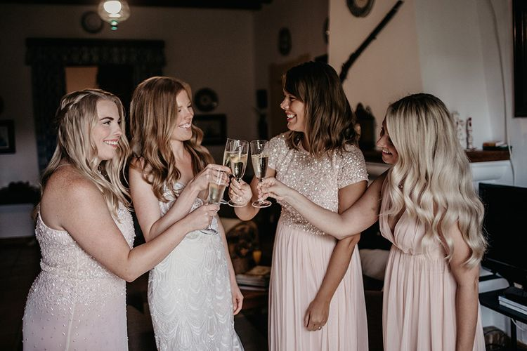 Pale pink bridesmaid dresses for destination wedding in Majorca