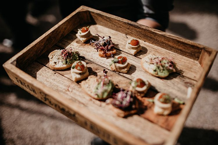 Canapes for wedding guests at destination wedding