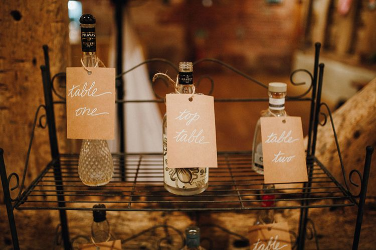 Table Plan with Bottles and Kraft Labels | Mariachi Band and Persian Rug Aisle for Autumn Wedding | Leah Lombardi Weddings