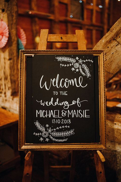 Chalkboard Welcome Sign | Mariachi Band and Persian Rug Aisle for Autumn Wedding | Leah Lombardi Weddings