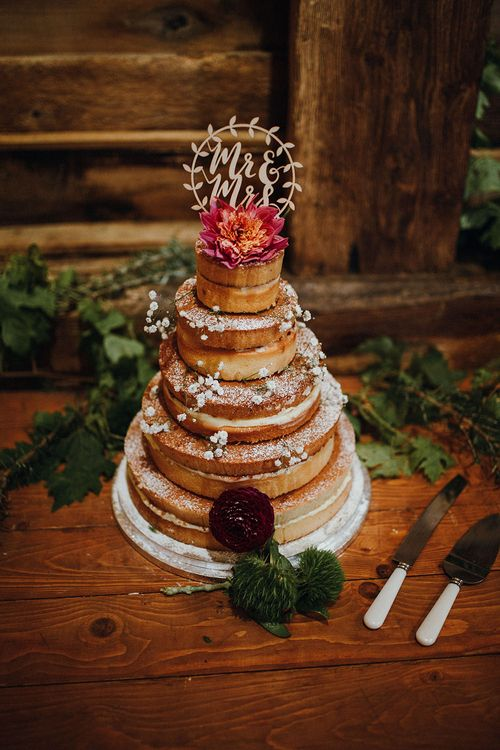 Naked Wedding Cake from Waitrose | Wooden Mr and Mrs Cake Topper | Mariachi Band and Persian Rug Aisle for Autumn Wedding | Leah Lombardi Weddings