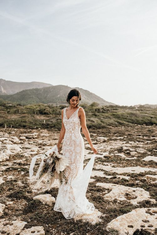 Bride in lace wedding dress for Mallorca elopement