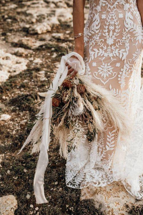 dried flower, pampas grass and foliage wedding bouquet for Mallorca elopement