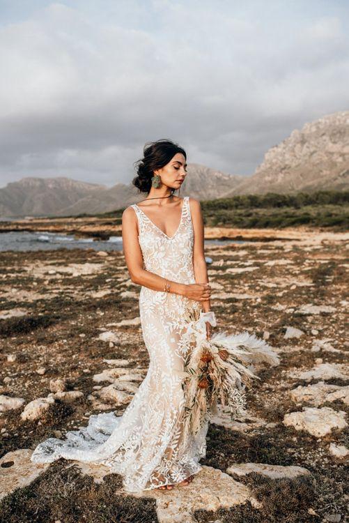 Boho bride at coastal Mallorca elopement